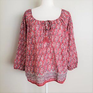 American Eagle Outfitters Red Floral Peasant Top